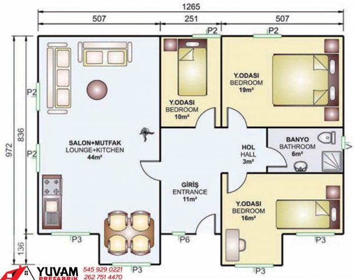 112m2 3+1 tek katlı prefabrik ev yerleşim planı