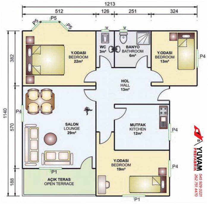 114m2 3+1 tek katlı prefabrik ev yerleşim planı