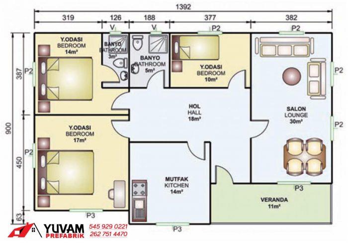 119m2 3+1 tek katlı prefabrik ev yerleşim planı