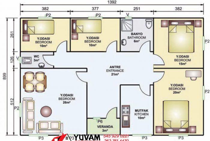 125m2 4+1 tek katlı prefabrik ev yerleşim planı