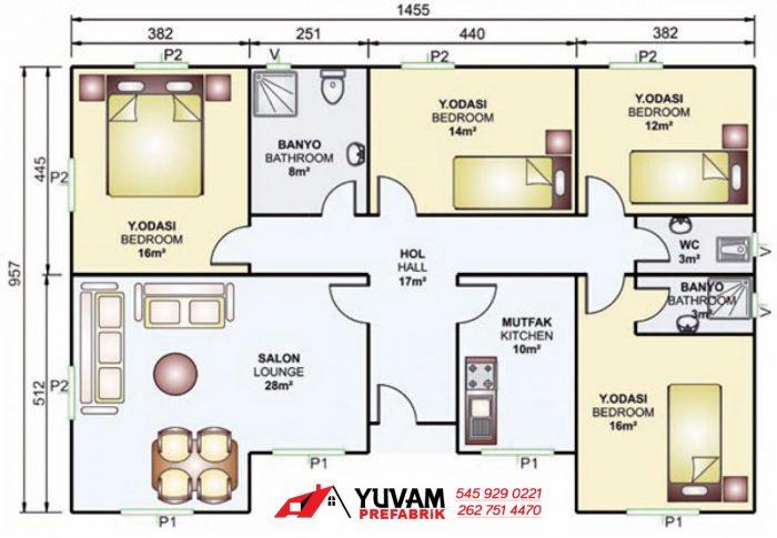 129m2 4+1 tek katlı prefabrik ev yerleşim planı