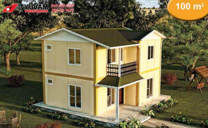 100m2 2+1 iki katlı prefabrik ev