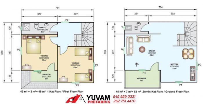 100m2 2+1 iki katlı prefabrik ev yerleşim planı
