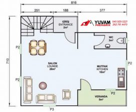 105m2 2+1 iki katlı prefabrik ev yerleşim planı alt kat