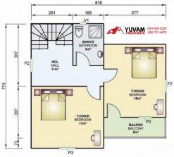 105m2 2+1 iki katlı prefabrik ev yerleşim planı üst kat