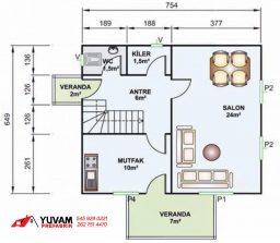 114m2 3+1 iki katlı prefabrik ev yerleşim planı alt kat