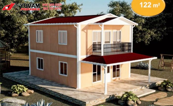 122m2 4+1 iki katlı prefabrik ev