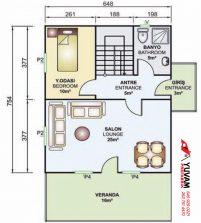 122m2 4+1 iki katlı prefabrik ev yerleşim planı alt kat