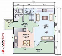 131m2 3+1 iki katlı prefabrik ev yerleşim planı alt kat