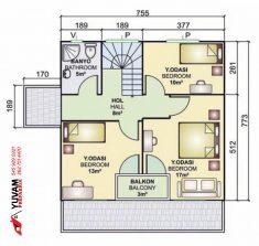 131m2 3+1 iki katlı prefabrik ev yerleşim planı üst kat