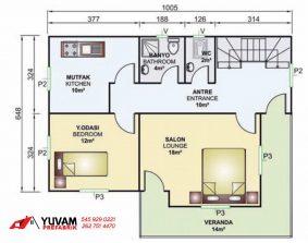 141m2 4+1 iki katlı prefabrik ev yerleşim planı alt kat