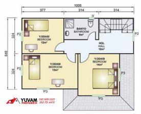 141m2 4+1 iki katlı prefabrik ev yerleşim planı üst kat