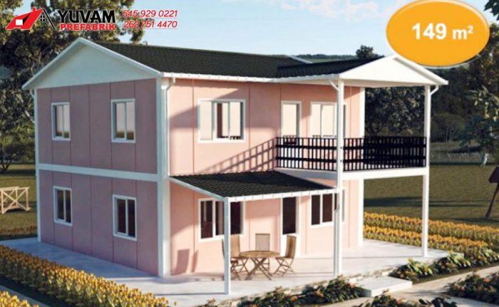 149m2 4+1 iki katlı prefabrik ev