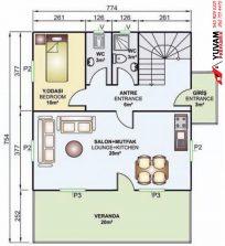 149m2 4+1 iki katlı prefabrik ev yerleşim planı alt kat