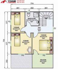 149m2 4+1 iki katlı prefabrik ev yerleşim planı üst kat