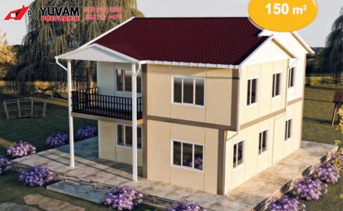 150m2 4+1 iki katlı prefabrik ev