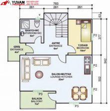 150m2 4+1 iki katlı prefabrik ev yerleşim planı alt kat
