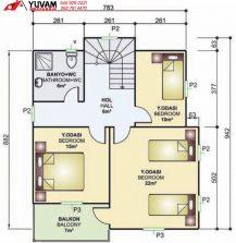 150m2 4+1 iki katlı prefabrik ev yerleşim planı üst kat