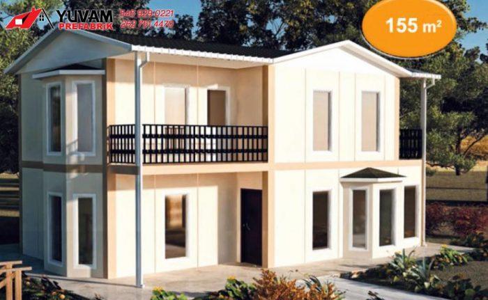 155m2 3+1 iki katlı prefabrik ev
