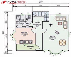 155m2 3+1 iki katlı prefabrik ev yerleşim planı alt kat