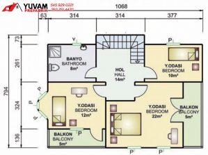 155m2 3+1 iki katlı prefabrik ev yerleşim planı üst kat