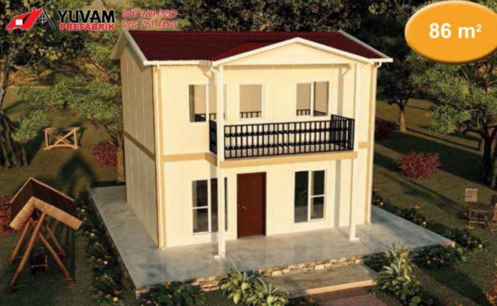 86m2 3+1 iki katlı prefabrik ev