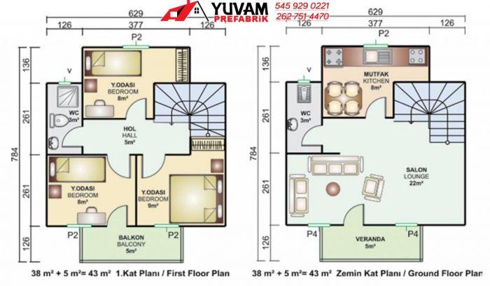 86m2 3+1 iki katlı prefabrik ev yerleşim planı